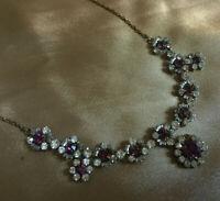 VINTAGE Sparkly Amethyst Purple & Clear Rhinestone Diamante Floral Necklace