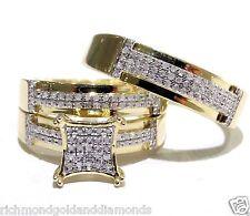 His Hers Men Womens Diamond Rings Set Wedding Bridal Band 10k Yellow Gold Trio