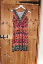 Wallis Ladies  Jersey Ethnic Print Dress Size 8 Holiday  party