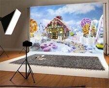 7x5ft Background Cartoon Fairytale Candy House Snow Backdrop Photography Props