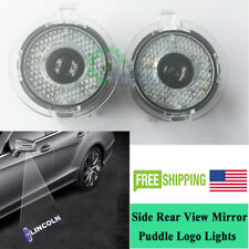 LED Side Rear View Mirror Puddle Light For Lincoln MKT MKZ  MKX Pure White Logo