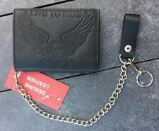 Portefeuille en Cuir avec chaine motif Aigle Live To Ride bikers wallet leather