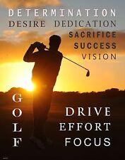 Golfing Motivational Poster Art Print Golf Balls Shoes Clubs Course   MVP450