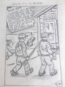 Original Cartoon Back To School Fishing Students Drawing MacLeod Liverpool NS