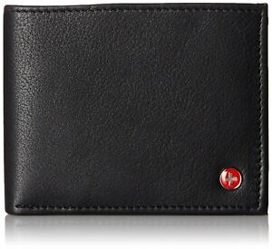 Alpine Swiss Mens RFID Blocking Leather High Capacity Bifold Wallet Black