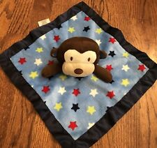 Garanimals Brown Monkey Navy Blue Stars Security Blanket Plush Baby Toy Lovey