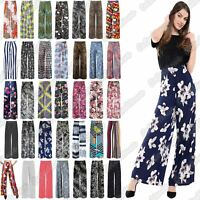 New Ladies Floral Printed Wide Leg Flared Parallel Baggy Trousers Pants Palazzo