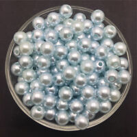 DIY 100PCS 6mm  Light Blue Acrylic Round Pearl Spacer Loose Beads Jewelry Making