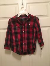 Nwt Boys Polo Ralph Lauren Red And Blue Size 4 Long Sleeve Button Up Shirt