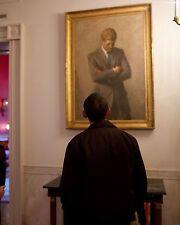 President Barack Obama looks at portrait President John F. Kennedy Photo Print