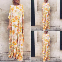 UK Womens Printed Floral Kaftan Dress Party Holiday Bohemia Crew Neck Long Dress