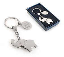 Personalised Elephant Keyring / Keychain With Gift Box - Engraved For You