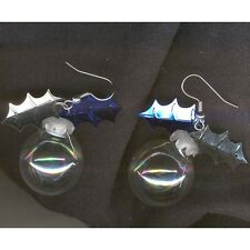 Funky Clear Glass CRYSTAL BALL EARRINGS Fortune Teller Holiday Costume Jewelry