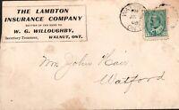 "Canada Postal Cover ""Lambton Ins. Co."" Walnut Ont, Pstmk Watford, 1908 w. rcpt"