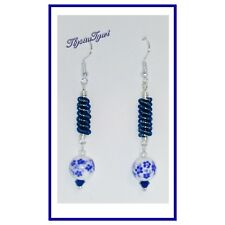 Porcelain &  Coil Dangle Earrings ..Silver Plated...Flowers...2Tone Blues/White