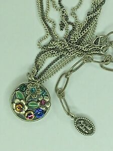 Michal Golan Sterling Silver Round Necklace Black Floral Rainbow Crystals