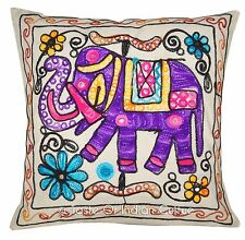 """Decorative 16"""" Cushion Cover Sofa Throw Kutch Elephant Embroidered Pillow Case"""