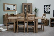 Brooklyn Solid Oak Furniture Extending Dining Table and Six Chairs Set