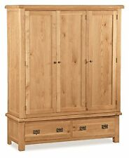 Zelah Oak Large Wardrobe / Solid Wood / Rustic Oak Wardrobe with Drawers / New
