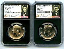 2014 P & D KENNEDY 50TH ANNIVERSARY NGC SP69 CLAD HIGH RELIEF HALF DOLLAR SET