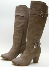 WOMENS JUSTFAB PAISLEY WIDE TAUPE BELTED KNEE HIGH HEEL FASHION BOOTS 8 WIDE