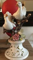 VINTAGE CAPODIMONTE PORCELAIN TWO DOVES ON FLOWER ROSE TREE. ITALY