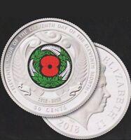 2018  New Zealand ARMISTICE DAY coloured Red Poppy Commemorative coin .rare.UNC.