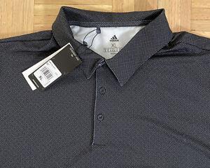 NWT Adidas Aeroready Mens Black/White Pin Dot Polo Golf Shirt Sz XL