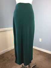 Waste Knot by JOMA green santana knit maxi skirt straight stretch XS S cotton