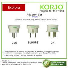 Korjo Travel Adaptor 3 Pack USA UK Europe