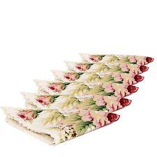 Divine Shabby Rachel Set Of 6 Cotton Elegant Lace Rose Napkins Serviettes