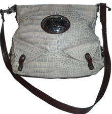 "KATHY VAN ZEELAND mock croc faux leather cross body shoulder bag 11"" x 10"" NEW"