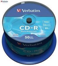 Verbatim CD-R 700MB 52 x VITESSE 80min Enregistrable Disque Broche Pack de 50