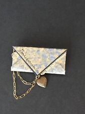 Handmade Blue Gold Envelope with Heart Brooch Pin