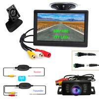 "Car Backup Camera Rear View System Night Vision + Wireless 5"" TFT LCD Monitor"