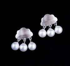 Ohrstecker Ohrring Wolke mit Perle Perlen Regen Tropfen 925 Sterling Silber