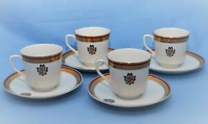 "WALBRZYCH PORCELAIN POLAND SET OF 4 CUPS AND SAUCERS WITH EMBLEM ""ZABRZE"""