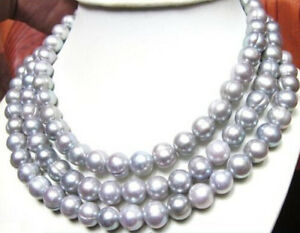 50 INCH AAA+ 8-9MM South Sea Gray Pearl Necklace 14k GOLD CLASP