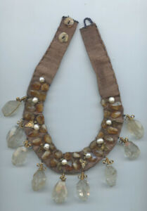 One of a kind hand made pearl crystal fabric choker collar necklace