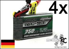 4x Turnigy nano-tech 750mAh 1S 35-70C NEU Lipo Akku 3,7V Hubsan Walkera Syma