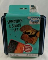 Sandwich Snack Set Divided Tray Ice Pack 4 Piece Lunch Box Dark Blue Fit + Fresh