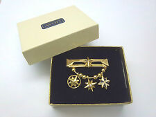 VINTAGE AVON PIN BROOCH WITH THREE STAR CHARMS DANGLING IN ORIGINAL BOX **