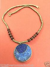 TRIBAL 925 AFGHAN SILVER LAPIS,LAZULI NECKLACE NATURAL AFGHAN JEWELRY CH890