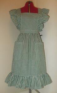 "Frilly 'Bottle Green Gingham' Vintage Style Bib Apron/Pinny(24""loop waist band)"