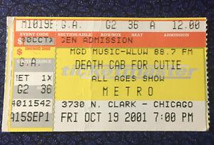 Death Cab For Cutie Concert Ticket Stub 10-19-01