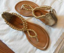 American Eagle sandal women 7.5 thong gold beads zippered heel protector flat