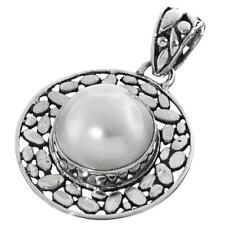 "7/8"" WHITE MABE PEARL 925 STERLING SILVER pendant"