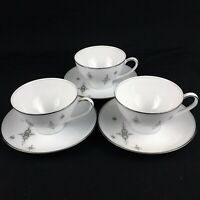 Set of 3 VTG Cups and Saucers by Noritake China STELLA 6602 MCM Starbursts Japan