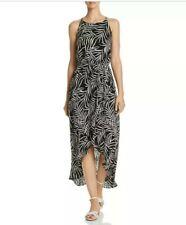 Aqua Women's Size S Black White Palm Leaf High Low Maxi Dress Racerback