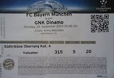 TICKET UEFA CL 2015/16 Bayern München - Dinamo Zagreb